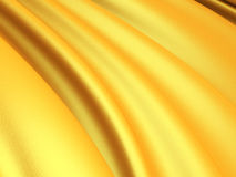 Luxury golden silk satin cloth waves background. 3d render illustration Stock Photography