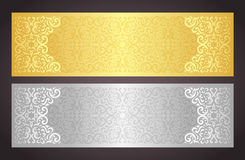 Luxury golden and silver gift certificate in vinta Stock Image