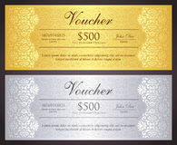 Luxury golden and silver gift certificate in vinta Royalty Free Stock Image