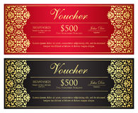 Luxury golden and silver gift certificate in vinta Stock Images