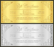Luxury golden and silver gift certificate in vinta Stock Photos