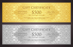 Luxury golden and silver gift voucher with vintage Stock Photo