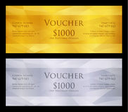 Luxury golden and silver voucher with modern background Royalty Free Stock Photos
