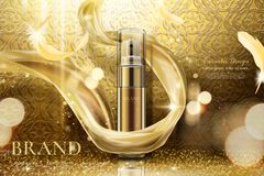 Luxury golden skincare spray. With weaving chiffon in 3d illustration, curved background royalty free illustration