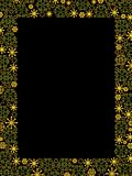 Luxury Golden Snowflakes Border. On Black Royalty Free Stock Image