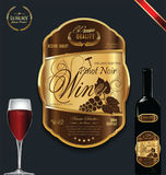 Luxury golden wine label template Stock Photography