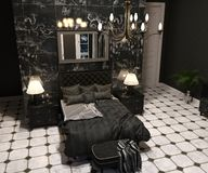 Luxury Goth Living room. Luxury goth bedroom interior in black and white 3d render royalty free stock images