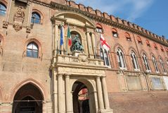 Luxury Gothic palace in Bologna, Italy. It is located at the main city square, Piazza Maggiore and used as Town Hall stock photo