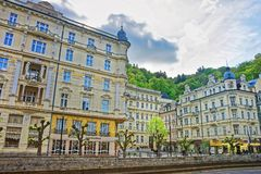 Luxury Grand Hotel Pupp and Embankment of Tepla River Royalty Free Stock Photo