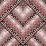 Luxury greek key meanders seamless pattern. Vector geometric bac. Kground. Ornate wallpapers design. Tracery abstract ornaments. Gold pink 3d ornamental meander Royalty Free Stock Photo