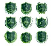 Luxury Green Badges Laurel Wreath Collection Stock Image
