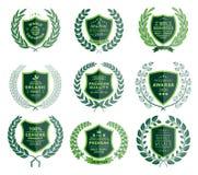 Luxury Green Badges Laurel Wreath Collection Stock Photo