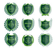 Luxury Green Badges Laurel Wreath Collection Stock Photo