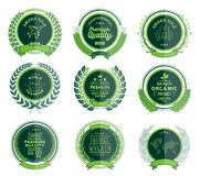 Luxury Green Badges Laurel Wreath Collection Stock Photos