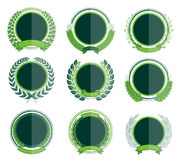 Luxury Green Badges Laurel Wreath Collection Royalty Free Stock Photography