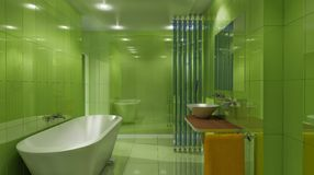 Luxury green bath Stock Photo