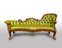Luxury green leather armchair. Isolated on white background stock images