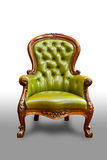 Luxury green leather armchair. Isolated on white background stock photography
