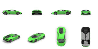 Luxury Green Sports Car isolated on white 3D Illustration Stock Image