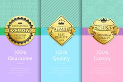 100 Luxury Guarantee Premium Quality Best Labels. 100 Luxury guarantee premium quality best golden labels sticker awards, vector illustration certificates Royalty Free Stock Image
