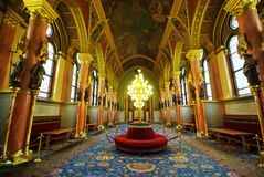 Luxury hall. Interior details in Parliament building, Budapest, Hungary Stock Photos