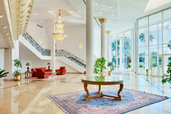 Luxury hall. Spacious hall of luxury hotel in classic style stock photo