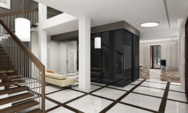 Luxury hall with staircase in a new house. 3D render royalty free illustration