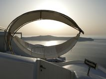 Luxury hammock with sea view behind from Fira in Santorini, Greece Stock Photography