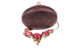 Luxury hand clutch and necklace Royalty Free Stock Photo