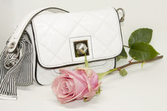 Luxury Handbag with Tender Rose. Royalty Free Stock Image