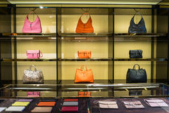 Luxury handbags in the shop Royalty Free Stock Photography