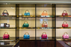 Luxury handbags in the shop Stock Image