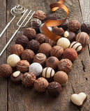 Luxury handmade chocolate bonbon assortment Stock Photography
