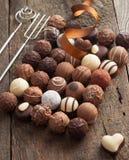 Luxury handmade chocolate bonbon assortment Stock Photography