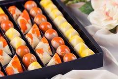Luxury handmade chocolate candies in gift box Royalty Free Stock Photo