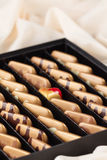 Luxury handmade chocolate candies in gift box Royalty Free Stock Images