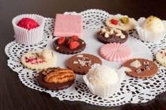 Luxury handmade chocolate and chocolate candies. Horizontal Royalty Free Stock Photos