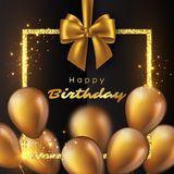 Luxury happy birthday design. Realistic 3D glossy golden balloons with glitter frame and bow. Luxury happy birthday design. Vector illustration Royalty Free Stock Images
