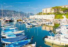 Luxury harbor in Saint Jean Cap Ferrat on french riviera, cote d`azur, France. Beautiful harbor with luxury yacht in south france Stock Images