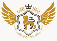 Luxury heraldic vector emblem template made using bird wings, wi Royalty Free Stock Photo