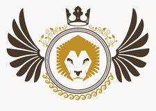 Luxury heraldic vector emblem template made using bird wings, wi Royalty Free Stock Image