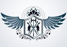 Luxury heraldic vector emblem template made using pentagonal sta. R and armory Stock Photo