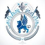 Luxury heraldic vector emblem template. Vector blazon. Stock Photo