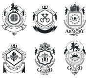 Luxury heraldic vectors emblem templates. Vector blazons. Classy Royalty Free Stock Photos