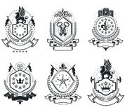 Luxury heraldic vectors emblem templates. Vector blazons. Classy Stock Photography