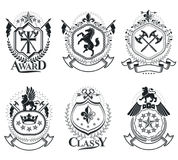 Luxury heraldic vectors emblem templates. Vector blazons. Classy stock illustration