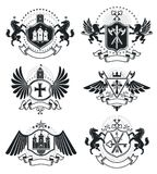 Luxury heraldic vectors emblem templates. Vector blazons. Classy. High quality symbolic illustrations collection Stock Photography