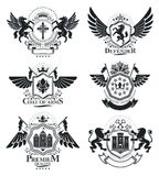 Luxury heraldic vectors emblem templates. Vector blazons. Classy. High quality symbolic illustrations collection Stock Photos