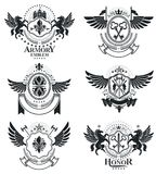 Luxury heraldic vectors emblem templates. Vector blazons. Classy. High quality symbolic illustrations collection Royalty Free Stock Photography