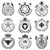 Luxury heraldic vectors emblem templates. Vector blazons. Classy royalty free illustration